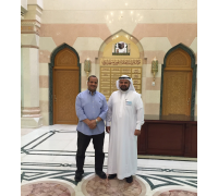 With one of the ambassadors of development who aspire sustainable charity, H.E. Mr. Abdul Aziz Al-Ayoubi at the Agency of the General Presidency of the Prophet's Mosque Affairs - Ramadan 1436 AH (July 2015)