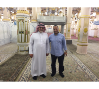 On a special visit to the noble Rawdah in the Prophet's Mosque, with an escort from the Presidency of the Two Holy Mosques – 29th Ramadan 1436 AH (16th July 2015)