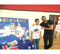 Abdul Rahman presents an artistic work about  Australia in his Canadian School - Cairo  (May 2015)